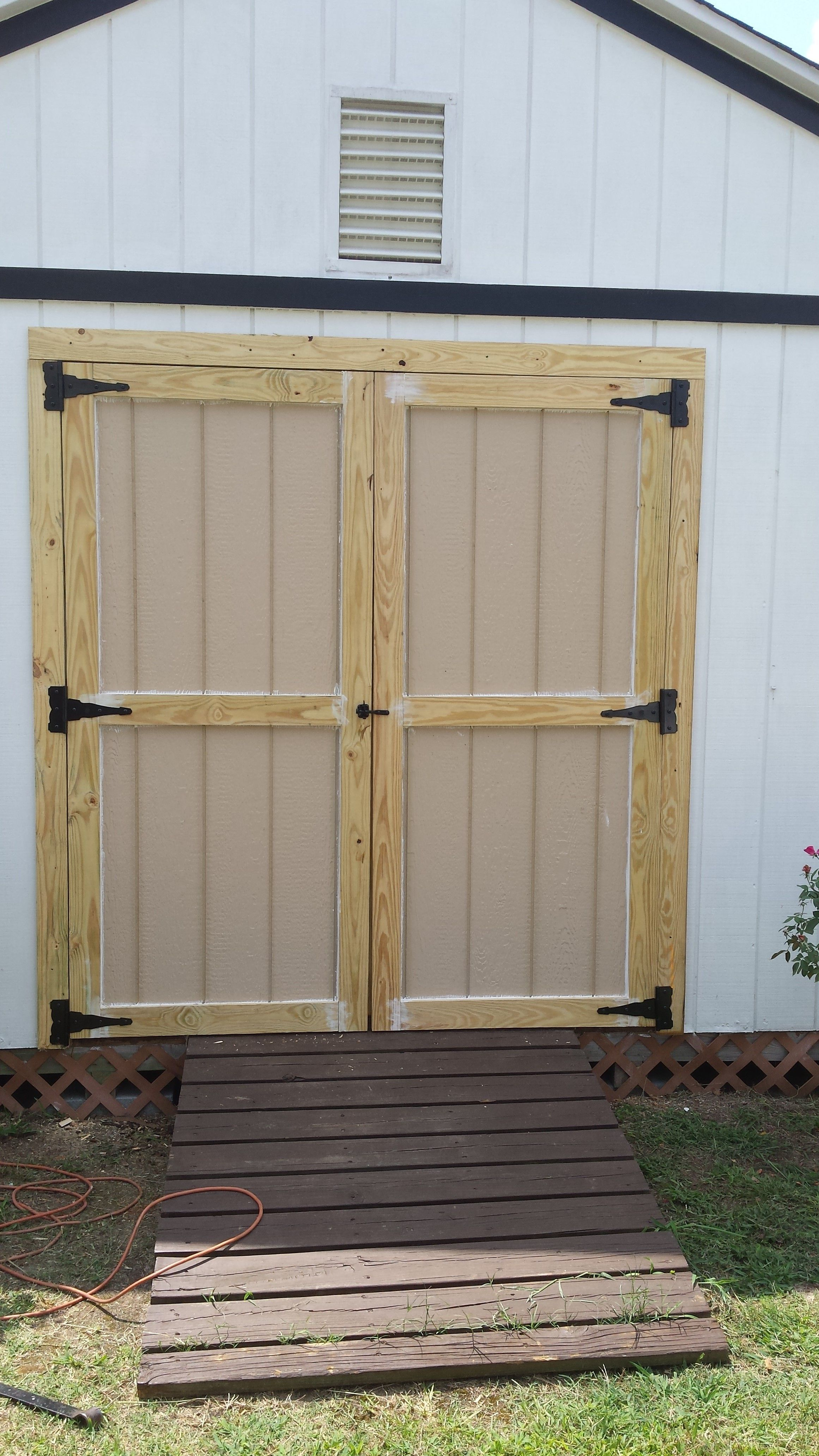 Brand New Shed Doors Installed For Client Old Door Was Rotting And Did Not Swing Well Fixed Up Makes The Shed Look Ne Shed Doors Shed Makeover Garage Doors