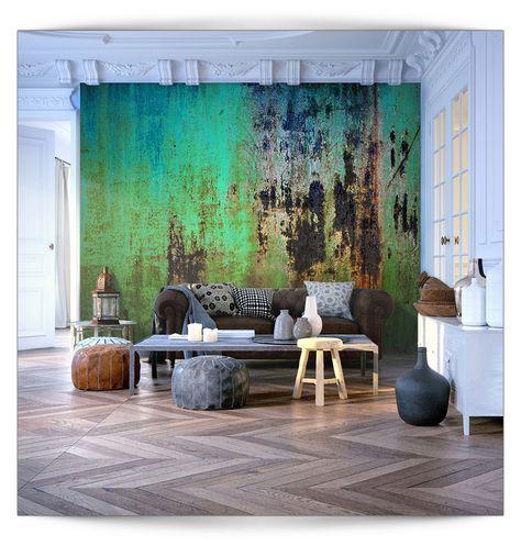 VLIES FOTOTAPETE 3D Muster Steinwand Grün TAPETE TAPETEN Schlafzimmer  WANDBILD | Heimwerker, Farben, Tapeten