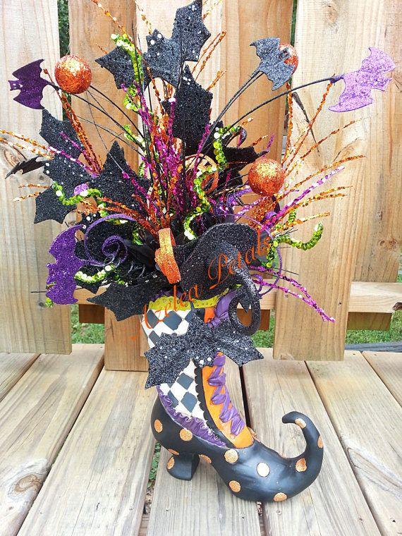 last two raz witch boot arrangement halloween bat by azeleapetals azelea petals - Raz Halloween Decorations