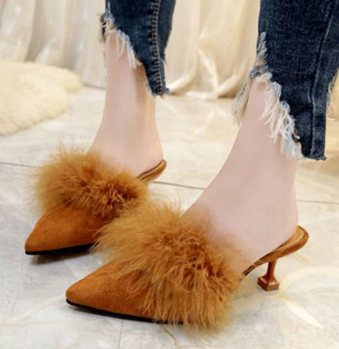 1898dbbc2f Womens Suede Faux Fur Kitten Heels Slippers Stilettos Pointed Toe Mules  Shoes A8