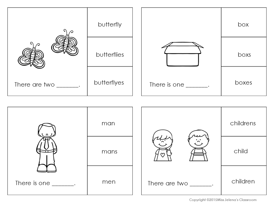 Plural and Singular Nouns Clip It Cards School