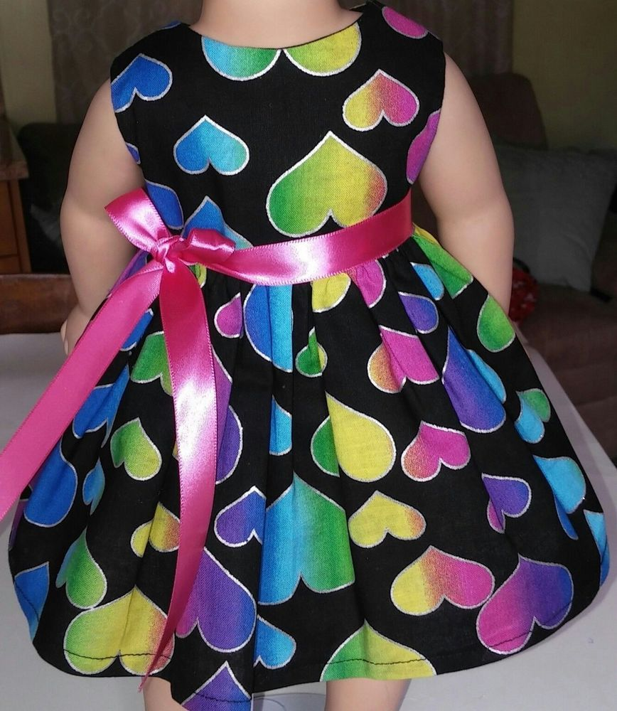 """Doll Clothes/Handmade/American Girl Dolls/Fits18""""/Colorful Hearts Dress. #Handmade"""