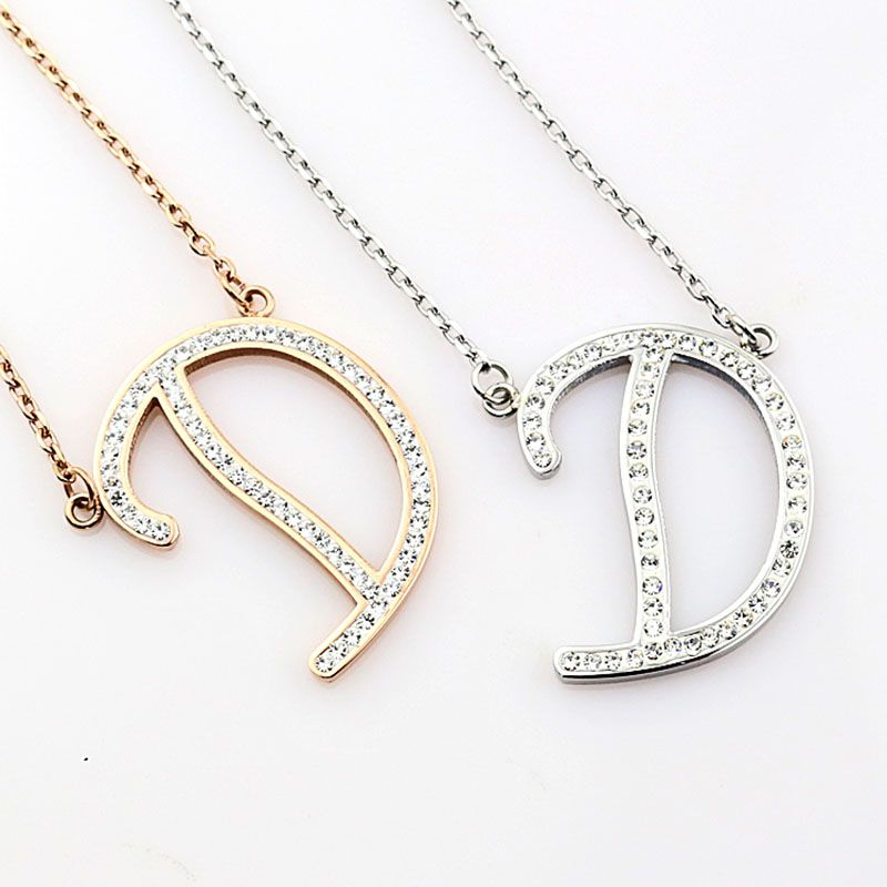 Cheap Diamond Letter D Pendant Necklace Wholesale Simple Letter
