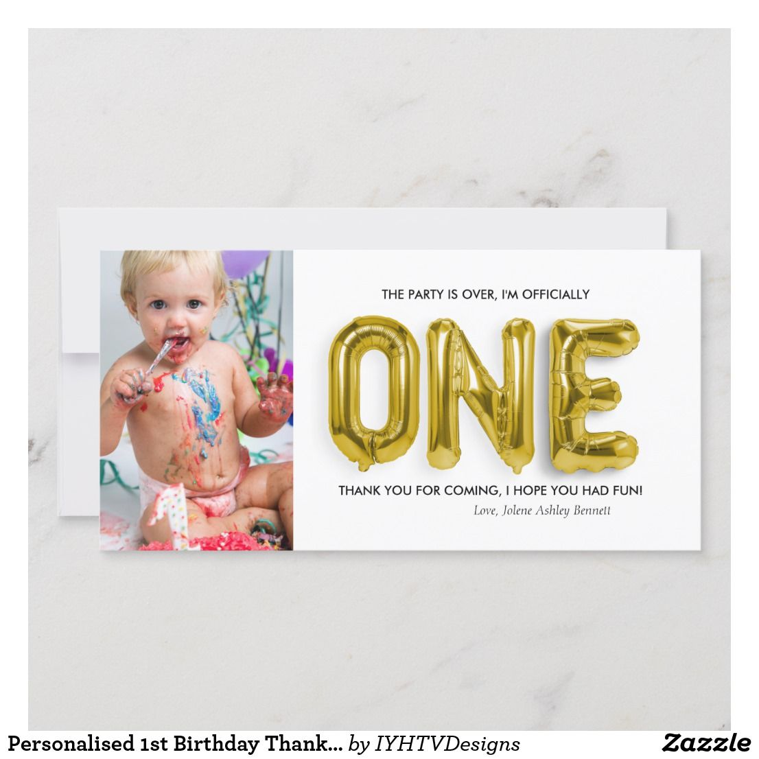 Personalised 1st Birthday Thank You Card Zazzle Com Birthday Thank You Cards Birthday Thank You Thank You Cards