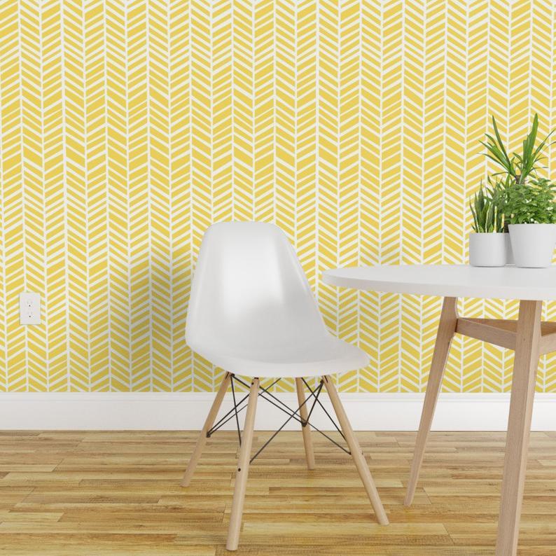 Herringbone Wallpaper Herringbone Lemon Yellow By Friztin Etsy Yellow Accent Walls Herringbone Wallpaper Accent Wall Bedroom
