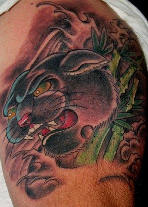 Black Panther In Bamboo Forest Tattoo Tattooimages Biz Bamboo