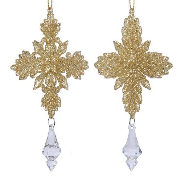 Platinum Glitter Snowflake with Dangle 1 Set 2 Assorted Christmas - christmas clearance decor