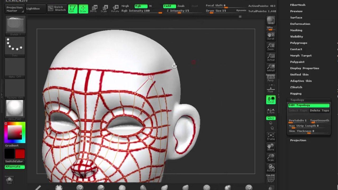 Zbrush Face Retopology Timelapse Face Topology Zbrush 3d Modeling Tutorial