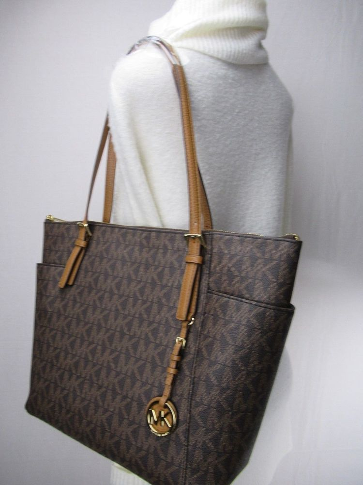 ab459945243e fashion Hot Michael Kors PVC Jet Set Item EW Top Zip Tote Bag Brown/Acorn