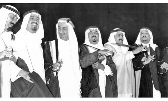From Left To Right Abdullah Khalid King Faisal Sultan Unknown Salman Sons Of Abd Al Aziz All Dancing Together King Faisal Saudi Men Face Art