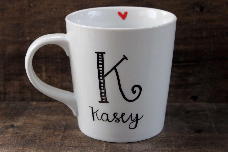 Monogram and Personalized Mug Heart Coffee Mug Simple