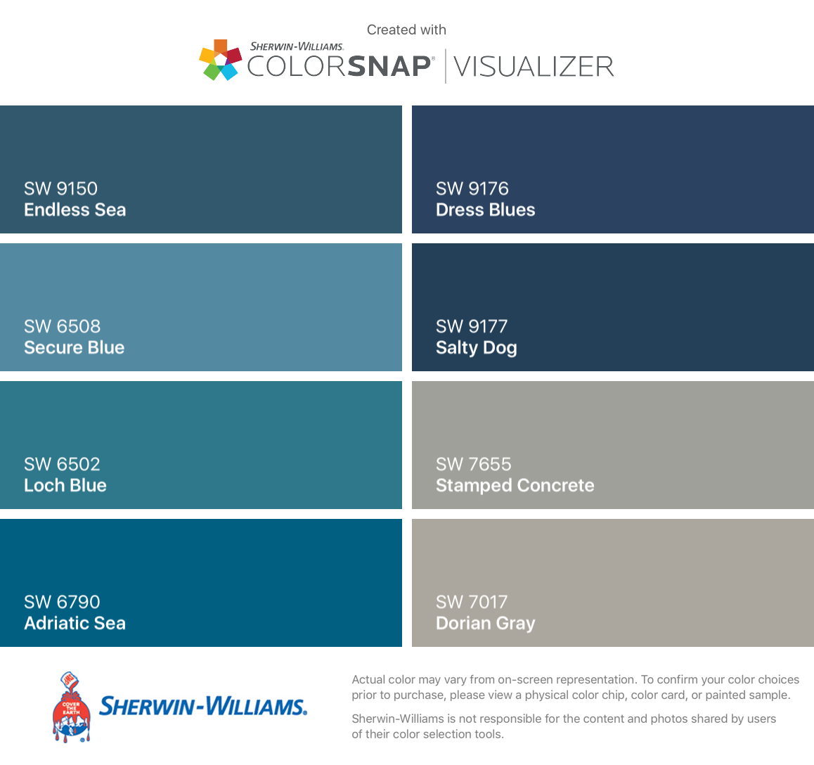 i found these colors with colorsnap visualizer for iphone by sherwin williams endless sea sw. Black Bedroom Furniture Sets. Home Design Ideas