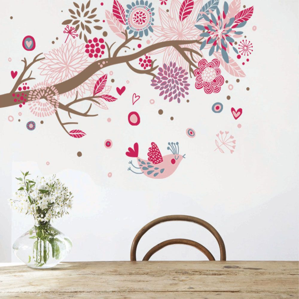 Cheap Coloridas Aves Flores Fragantes Bricolaje Adhesivos De Pared - Diy wall decor birds