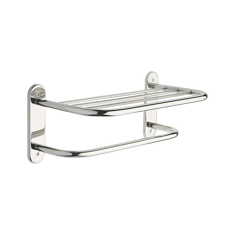 43618-ST Delta 18″ Stainless Steel Towel Shelf with One Bar, Exposed Mounting : Bath Products : Delta Faucet