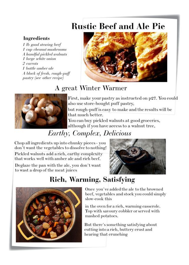 """""""Rustic Beef and Ale Pie with Pickled Walnuts"""" by vic-mazonas ❤ liked on Polyvore featuring interior, interiors, interior design, home, home decor, interior decorating, Post-It, rustic and favoritepie"""