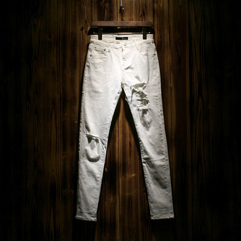 Ripped Denim White jeans men Biker Distressed Jeans Mens skinny ...