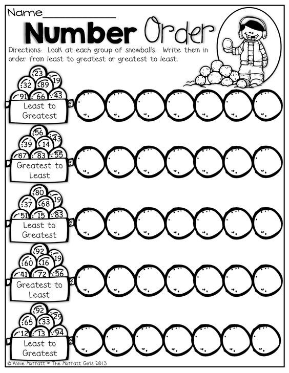Worksheets For Kindergarten Number Order : Number order put the snowballs in from least to
