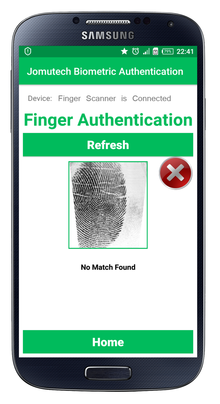 Android Biometric Fingerprint Authentication Match NOT Found