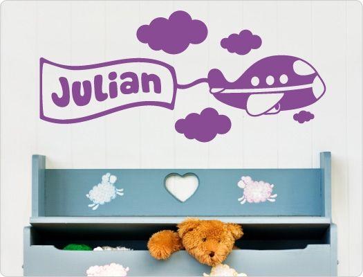 Kinderzimmer Wandtattoo Flugzeug mit Kindername Kinder