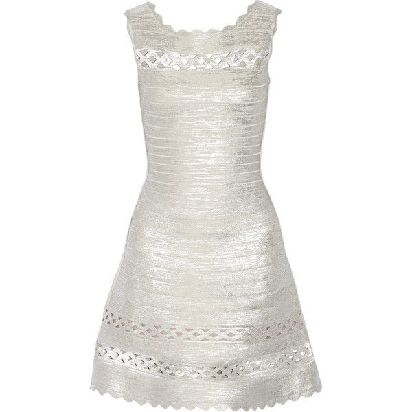 Hervé Léger - Dominica Cutout Metallic Bandange Mini Dress ($693) ❤ liked on Polyvore featuring dresses, silver, white cocktail dresses, cut out mini dress, metallic mini dress, white dress and white cutout dresses