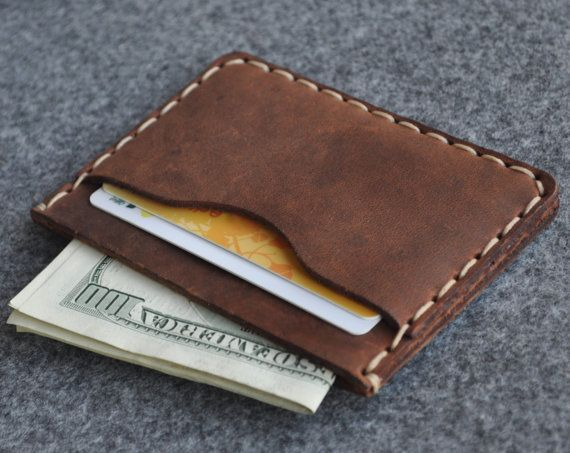 Brown Leather Wallet. PERSONALIZED Credit Card Cash and Banknote Holder. Rustic Style Pouch #leatherwallets
