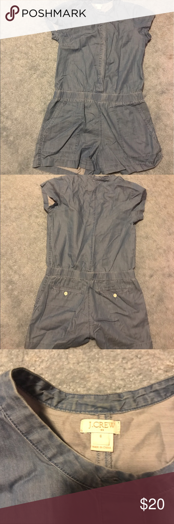 Chambray Romper Cute chambray romper, material is not heavy and it's buttoned up but it's hidden behind the fabric that covers it! Great summer/cruise outfit J. Crew Other #summercruiseoutfits