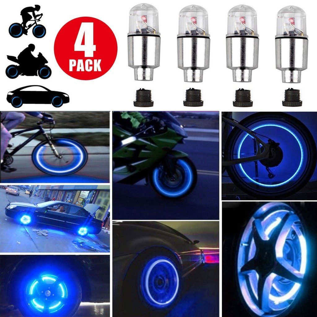 New Led Tire Valve Caps Valve Cap Safety Lights Bicycle Lights