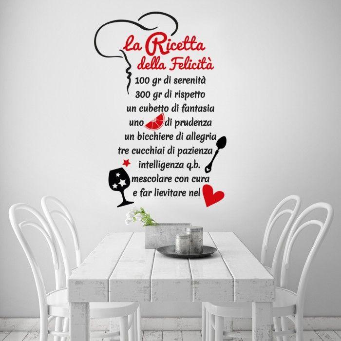 La ricetta della felicità - http://www.adesivimurali.com/aforismi/01329-la-ricetta-della-felicita