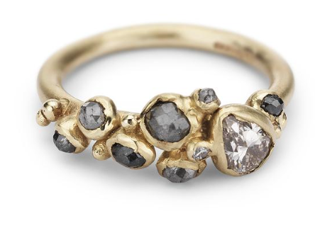 ruth tomlinson diamond cluster ring with faceted pear