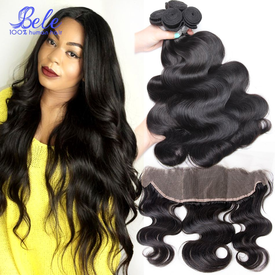 Brazilian Lace Frontal Closure With Bundles Brazilian Body Wave Virgin Hair 4 Bundles With Closure 13x4 Ear To Ear Frontal