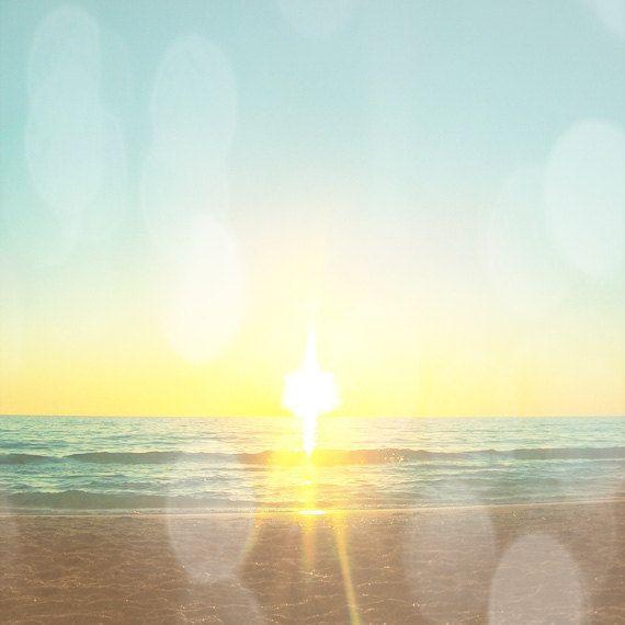 Beach Sunset Bokeh Art Print - Aqua Yellow Soft Beach House Wall Art ...