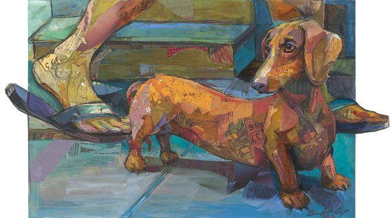 Dachshund / Daschund / Weiner Dog -  Print of Original Collage and Acrylic work of Art. $150,00, via Etsy.