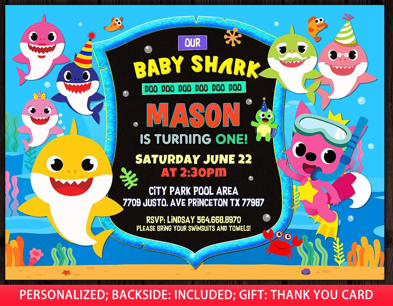 Baby Shark Invitation Boy Baby Shark Birthday Invitation Etsy Shark Birthday Invitations Boy Birthday Invitations 1st Birthday Invitations
