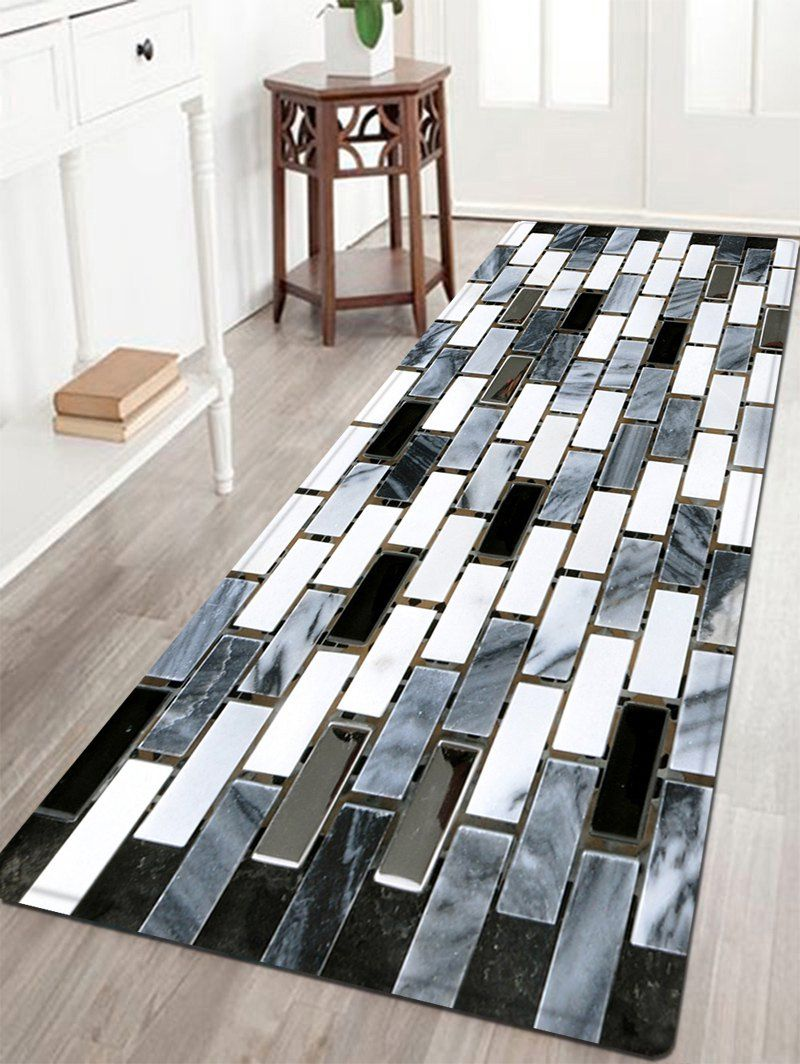 Home Decor Tile Store Ceramic Tile Pattern Water Absorption Area Rug  Black White  W24