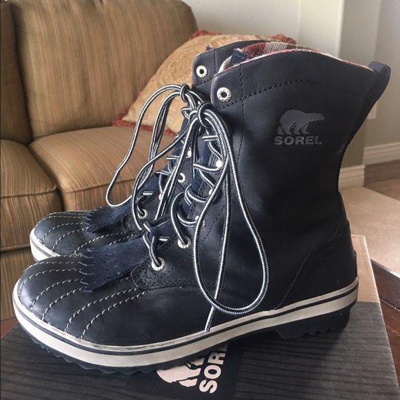 SOREL Tivoli Camp 18 Leather Boots Black. Waterproof. Excellent condition. SOREL Shoes
