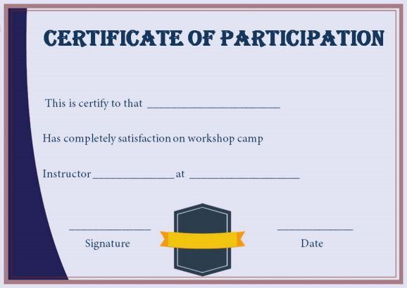 Certificate For Participation In Workshop Template Certificate of