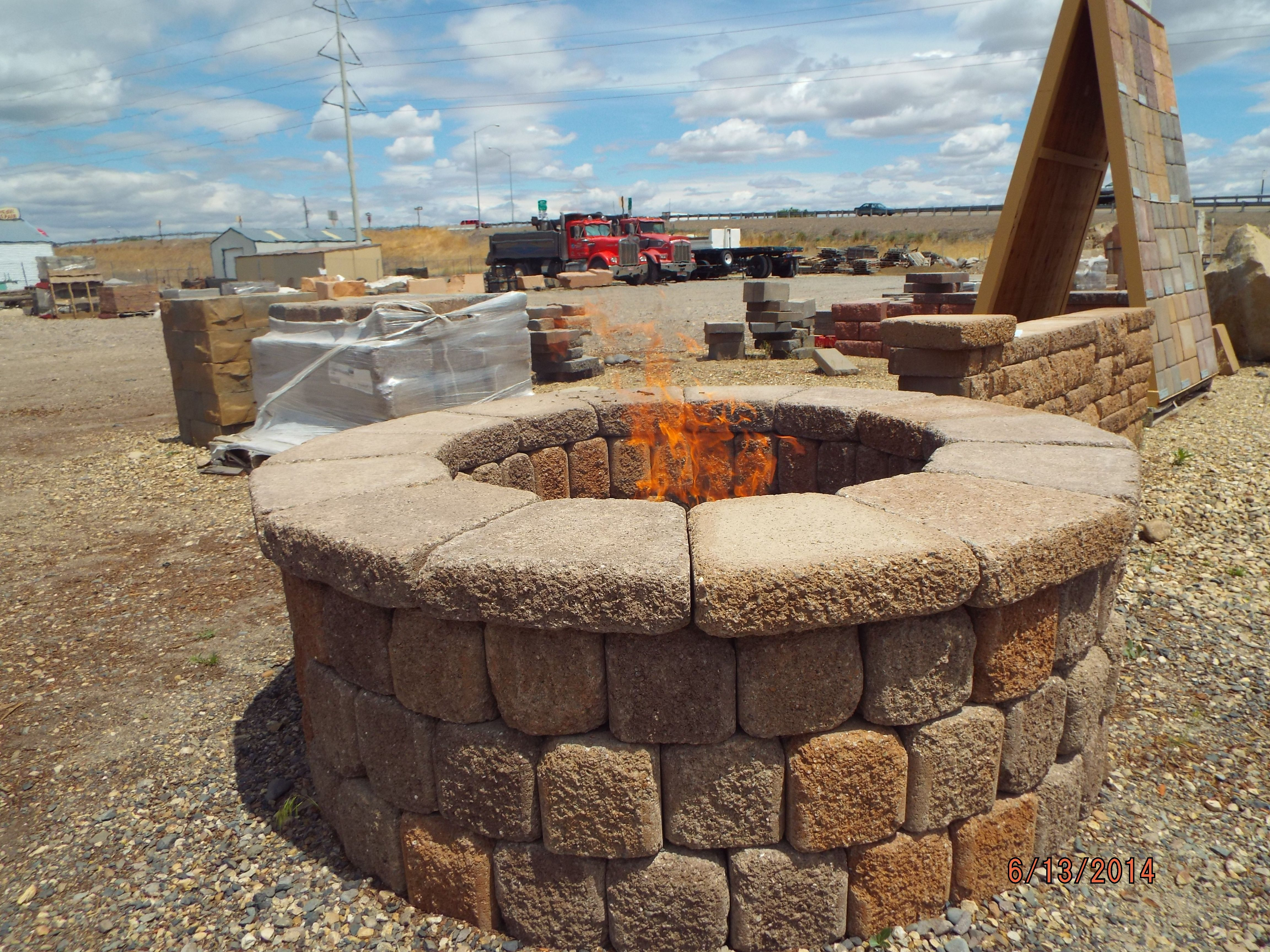 stone wall ii fire pit comes in a easy to assemble kit basalite