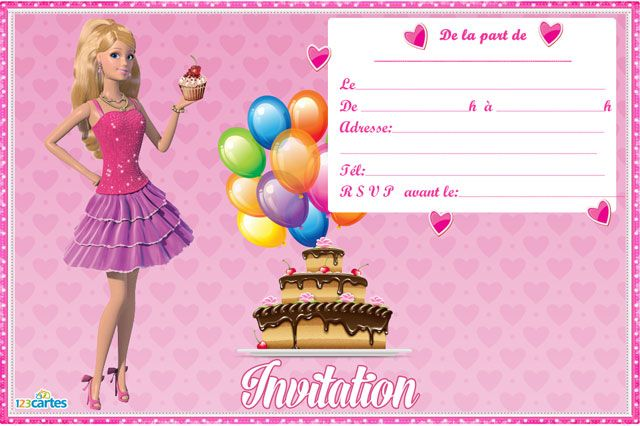 Carte invitation anniversaire Barbie | 123 cartes | Invitation anniversaire, Carte invitation ...