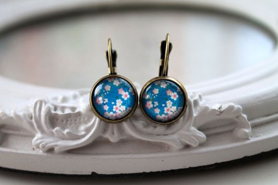 Pretty pink flower sakura earrings sweet lolita by DinaFragola