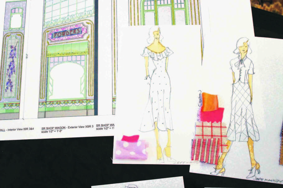 A Costume Sketch For She Loves Me By 2016 Tony Nominated Designer Jeff Mahshie Scenic Design Sketch Design Sketch Scenic Design