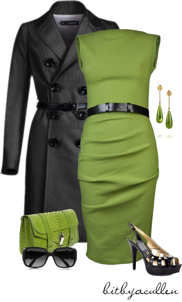 """""""Green!"""" by bitbyacullen ❤ liked on Polyvore... though I think this color green would make me look ill I still like the color combo"""