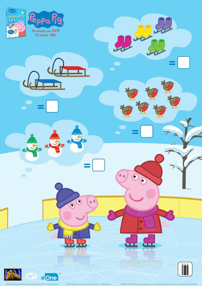 Peppa Pig Winter Counting Activity Page | Printable Coloring Pages ...