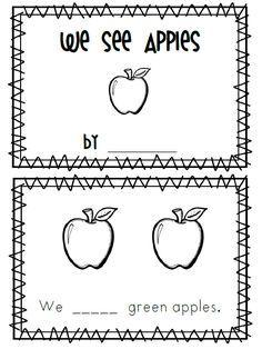 Image result for free printable apple emergent reader