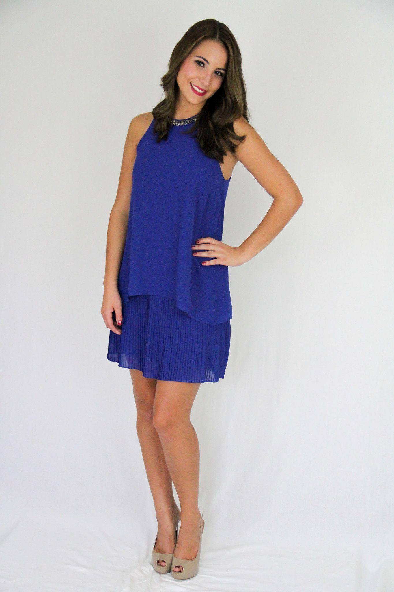 Beaded neck layer dress royal blue clothing pinterest royal