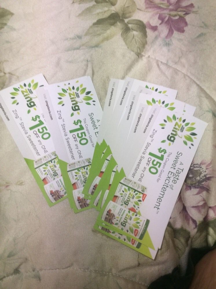 ZING STEVIA SWEETNER  $1.50 COUPONS LOT OF 16 Expires December 2016