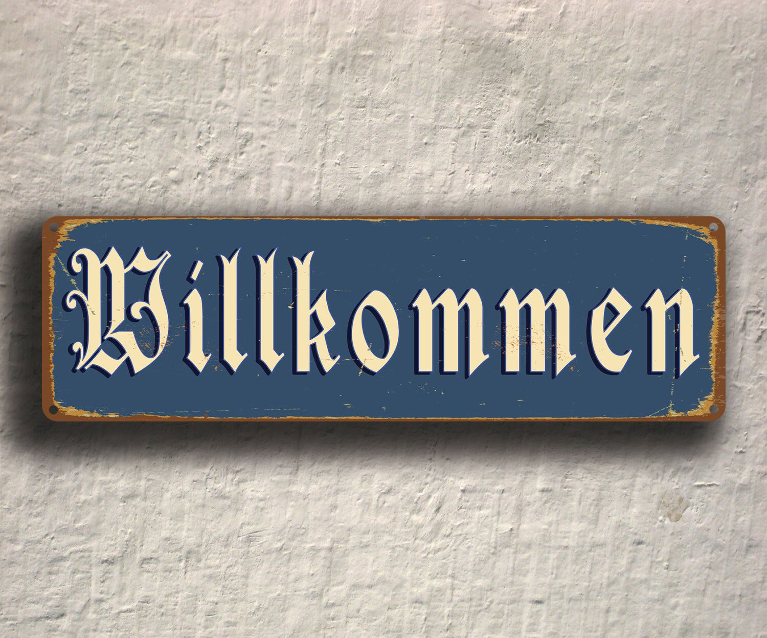 Welcome Sign Decor Entrancing Willkommen Welcome Sign Willkommen Signs Willkommen German Old Design Decoration