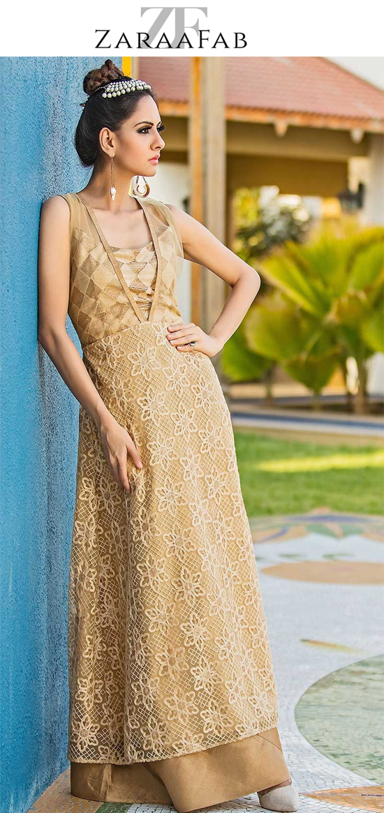 242dc85cb0 Looking to buy chiku color embroidered net heavy work kurtis online? Huge  collection of embroidered net kurtis, heavy embroidered kurti, embroidered  long ...