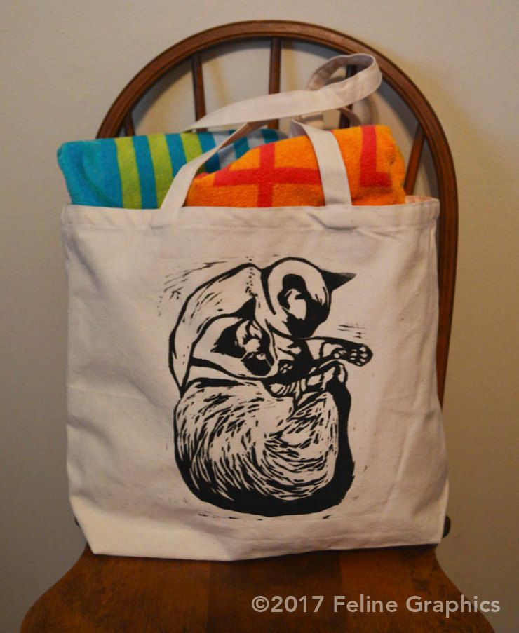 171b2ad005 Siamese Sleeping Tote Bag, Cat bag, Cat lover gift, Siamese cat, Canvas Bag,  Handprinted bag, Linocut, Cat Lady Gift by felinegraphics on Etsy