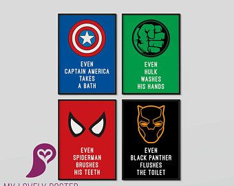 Superheroes Bathroom Set of 4 Posters | Avengers | Marvel ...