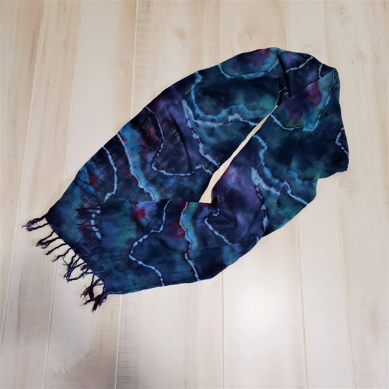 Blue Purple Green Ice Dyed Wavy Tie Dye Cotton Scarf 14 X 72 Inches Ice Dyeing Tie Dye Cotton Tie Dye Designs
